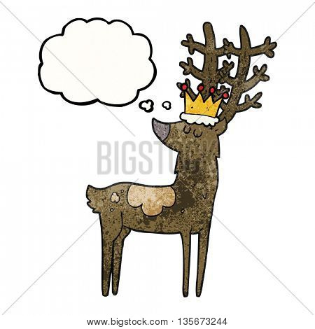 freehand drawn thought bubble textured cartoon stag king