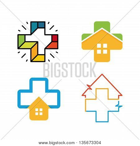 Unusual cross vector logo set. Healthcare isolated symbol. Colorful cross logos collection