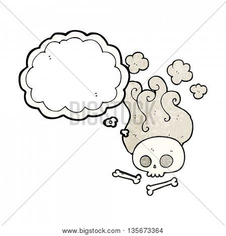 freehand drawn thought bubble textured cartoon skull and bones