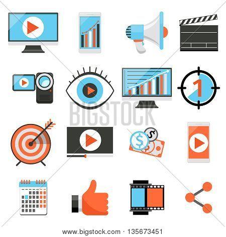 Video marketing and digital marketing, social media marketing flat vector icons. Internet marketing, social business marketing illustration