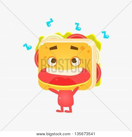 Sandwich Character Listening To Music Flat Childish Funny Design Vector Drawings Isolated On Dark Background