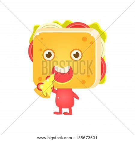 Sandwich Character Eating Pizza Flat Childish Funny Design Vector Drawings Isolated On Dark Background