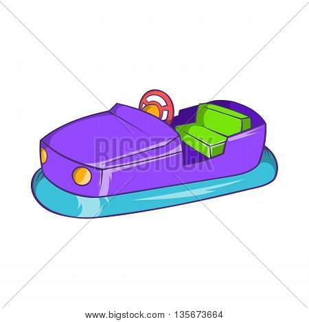 Bumper car in amusement park icon in cartoon style on a white background