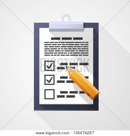 Survey flat icon, Pad document pencil, design element