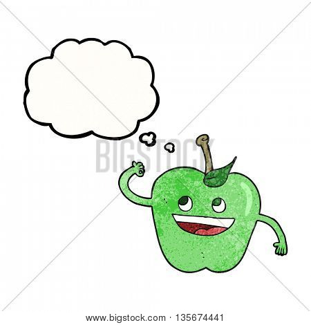 freehand drawn thought bubble textured cartoon apple