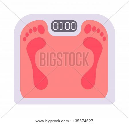 Human scales vector illustration. Personal human scales overweight, dieting healthcare balance object. Body measure human scales lifestyle fitness measurement instrument. Fitness lifestyle concept.
