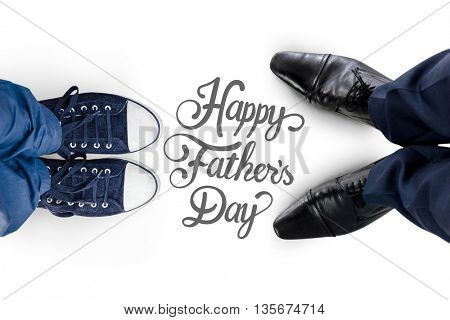 Businessman standing isolated on white background against fathers day greeting