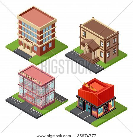 Vector isometric buildings set architecture icon. Isometric buildings architecture icon exterior business real estate construction. Urban facade block isometric buildings store cartoon elements.