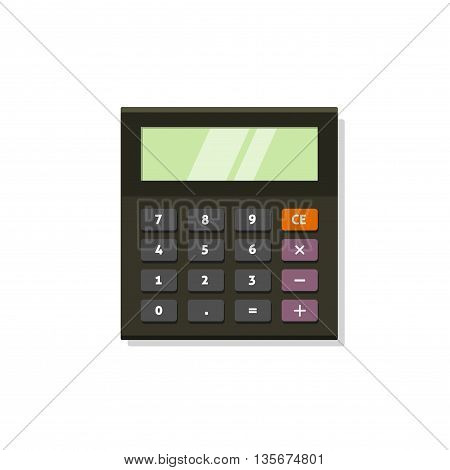 Calculator vector icon isolated on white background, flat black calculator illustration with shadow and buttons