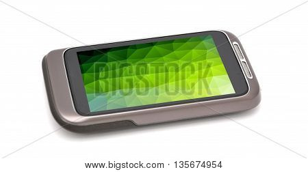 Modern smartphone on white background. Smartphone has abstract green background on screen.