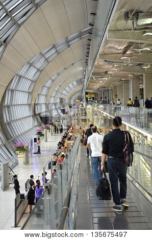 BANGKOK THAILAND - JUNE 18 2016: The modern design of Bangkok International Airport in Bangkok Thailand. This airport is one of the busiest in Southeast Asia.