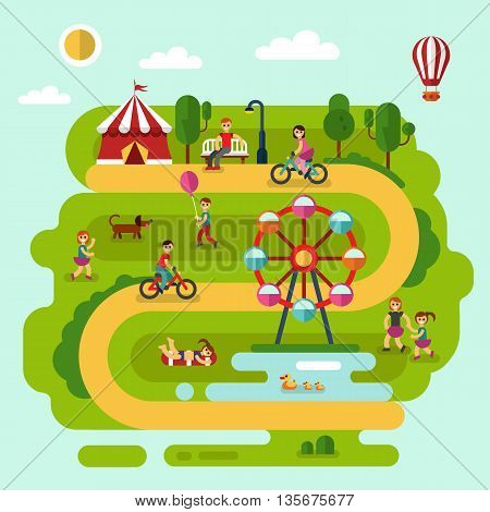Flat design vector summer landscape illustration of amusement park with air balloon, ferris wheel, road, bench, walking people, cyclists, pond with ducks, boy with balloon, children playing with dog.