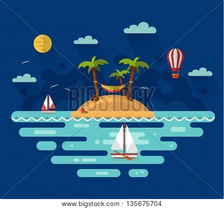 Flat design vector nature night landscape illustration with tropical island, moon, palm, coconut, hammock, sailing boat, air balloon. Summer vacation on tropical island. Perfect holidays concept.