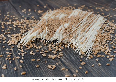 Japanese vermicelli fine noodles on an old wooden table rustic style