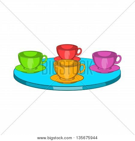 Attraction cups of tea spinning in a circle icon in cartoon style on a white background