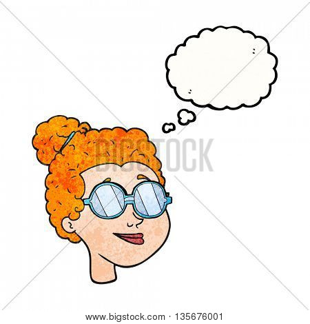 freehand drawn thought bubble textured cartoon woman wearing glasses