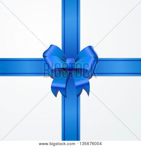 Bright blue bow-knot with tape with shadow on white