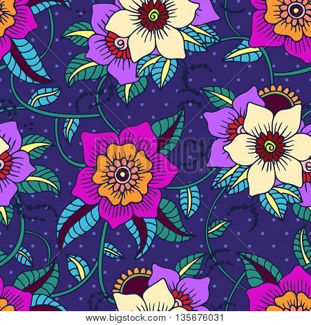 Seamless Floral background.Colorful flowers and leafs on blue background with dots.
