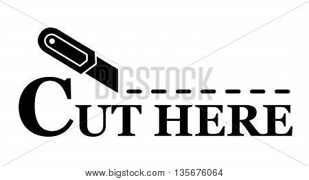 sharp knife silhouette with cut dotted line