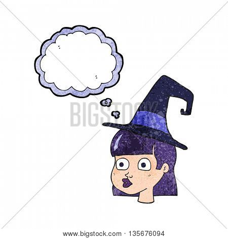 freehand drawn thought bubble textured cartoon witch