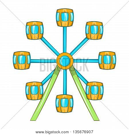 Ferris wheel icon in cartoon style on a white background