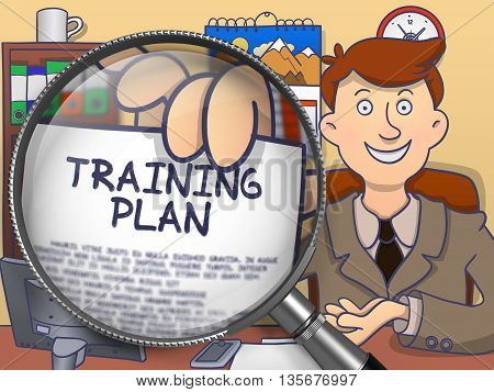 Training Plan. Businessman in Office Workplace Shows through Magnifying Glass Text on Paper. Multicolor Doodle Illustration.