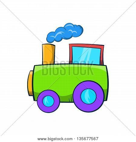Green toy train icon in cartoon style on a white background