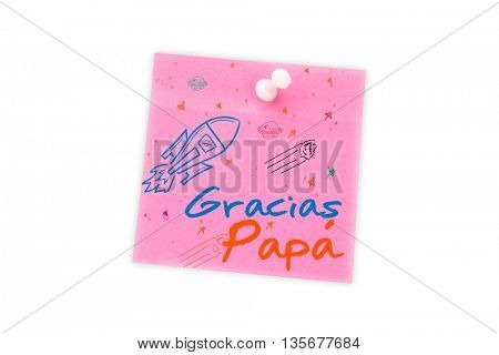Word gracias papa against digital image of pushpin on pink paper