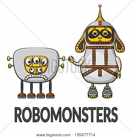 Set of Cute Different Cartoon Robots, Colorful Characters, Elements for your Design, Prints and Banners, Isolated on White Background. Vector