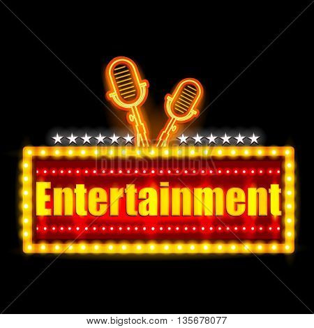 easy to edit vector illustration of Neon Light signboard for Entertainment Banner