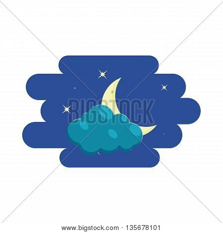 Cloud, crescent and stars, icon in cartoon style on a white background