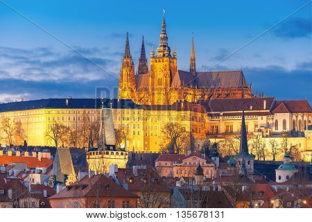 Prague Castle and Mala Strana or Little Quarter during twilight blue hour, Prague, Czech Republic.