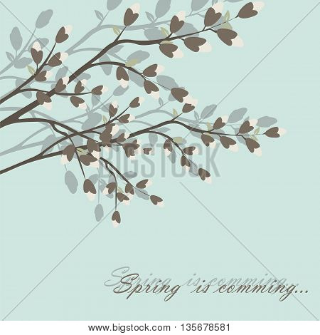Spring is coming background tree with blossom flowers. Vector spring background. cherry blossoms on tree branches. Calligraphic frame. Place for text. Blue serenity color
