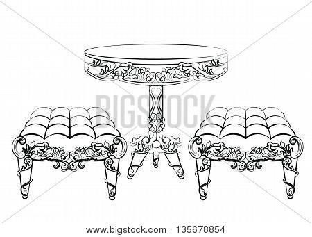 Furniture in classic rococo style ornament. Vector sketch