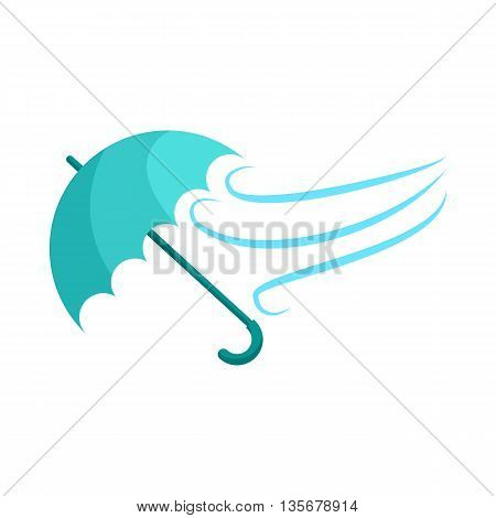 Blue umbrella and wind icon in cartoon style on a white background