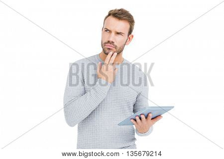 Young man using digital tablet on white background