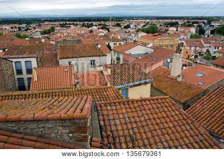 View from roof of Cathedral Sainte Eulalie et Sainte Julie in Elne France