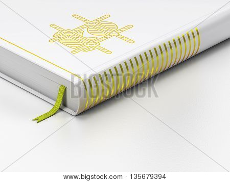 Law concept: closed book with Gold Criminal icon on floor, white background, 3D rendering