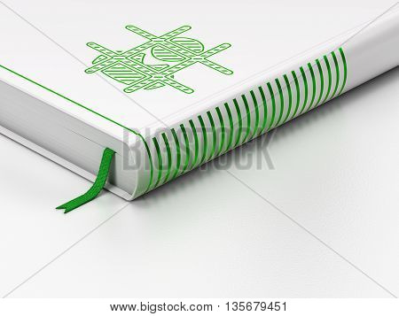 Law concept: closed book with Green Criminal icon on floor, white background, 3D rendering