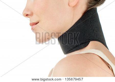 Close-up woman with bandage, brace on her neckwearing medical sport band isolated on white background