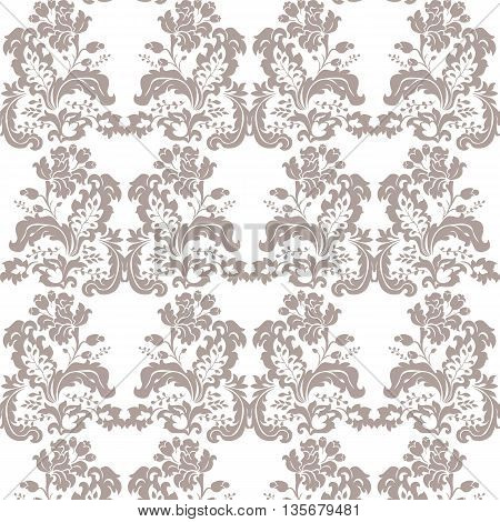 Vector Vintage Damask Pattern flower ornament Imperial style. Ornate floral element for fabric textile design wedding invitations greeting cards. Simply taupe color