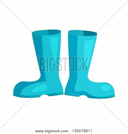 Blue rubber boots icon in cartoon style on a white background