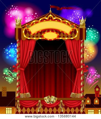 Puppet show booth with theater masks, red curtain, illuminated signboards width night city view and fireworks in the sky. Artistic and theatrical poster and template design