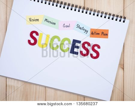 Wooden word Success and handwriting Vision Mission Goal Strategy Action Plan on notebook with wood background (Business concept)
