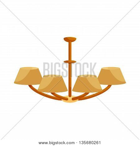 Chandelier icon in cartoon style on a white background