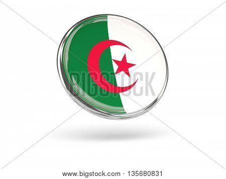 Flag Of Algeria. Round Icon With Metal Frame