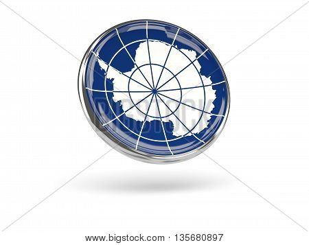 Flag Of Antarctica. Round Icon With Metal Frame