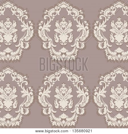 Floral ornament pattern with stylized centered lilies flowers. Elegant luxury texture for backgrounds and invitation cards. Sphinx taupe color. Vector
