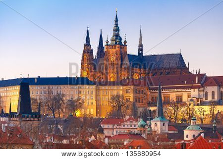 Prague Castle and Mala Strana or Little Quarter in the evening, Prague, Czech Republic.