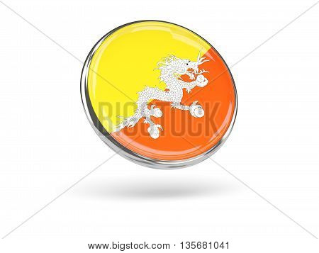 Flag Of Bhutan. Round Icon With Metal Frame